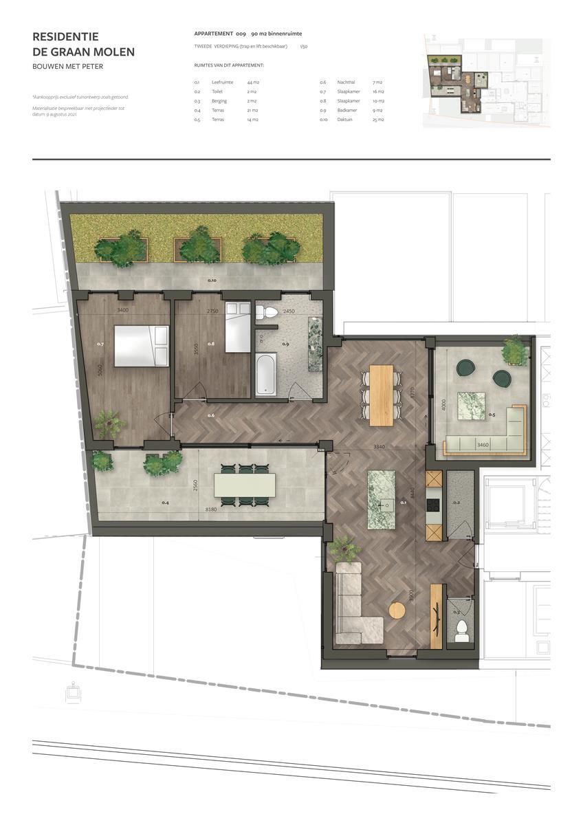 Penthouse (90m2) met 2 SLPK en meerdere terrassen (28m2)  - Bavegem